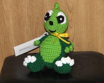 Darcy the Baby Green Dragon - Crocheted Stuffed Dragon