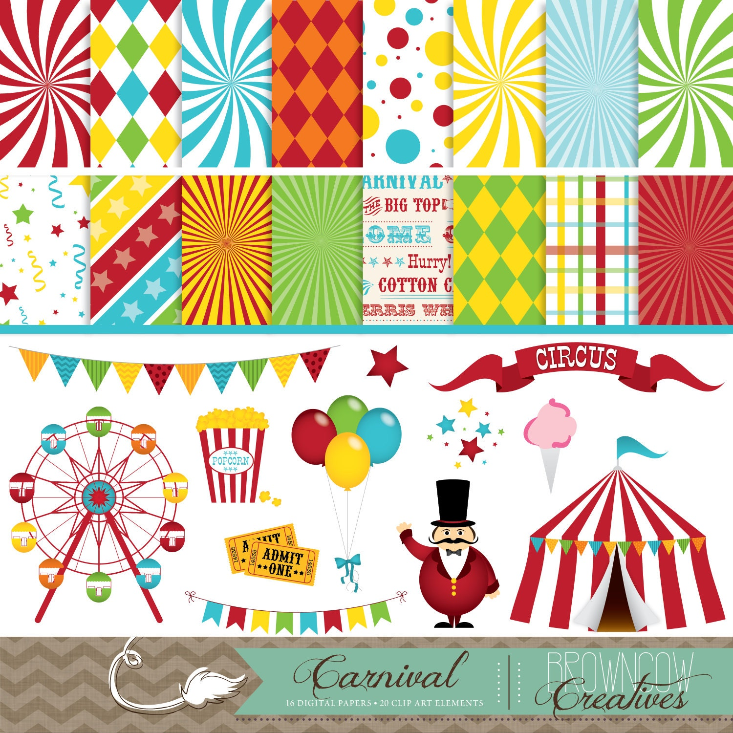 Carnival clip art banners and backgrounds bundle - Clipart carnaval ...