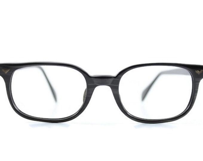 60s Vintage Eyeglasses | 1960s Opalescent Black and Grey Horn-Rimmed Glasses | NOS Eyeglass Frame | Deadstock Eyewear - Elwood