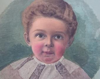 Antique Original Oil Painting Portrait of Boy Painted on Metal