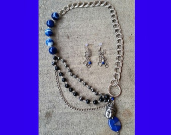 Chunky Agate and Hematite Multi-Strand Chain Necklace and Lapis Earrings Set