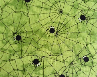 One Half Yard Fabric Material -  Spiders and Webs Lime Green