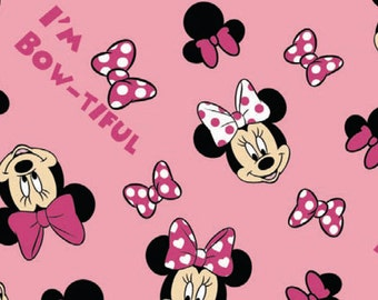 Minnie Head Toss - I'm Bow-tiful - Minky/Velour Fabric - Springs Creative