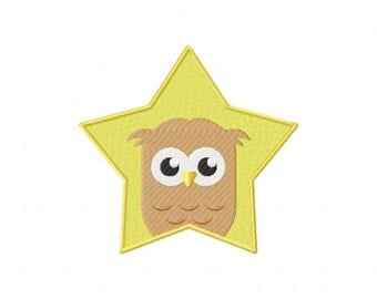 INSTANT DOWNLOAD Owl Star Machine Embroidery Design