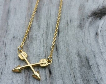 Gold Crossed Arrows Necklace