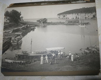 Antique Ninawa Allis yacht photo print? Nugent, Hubbard Nordberg Oweise family 1913 Michigan