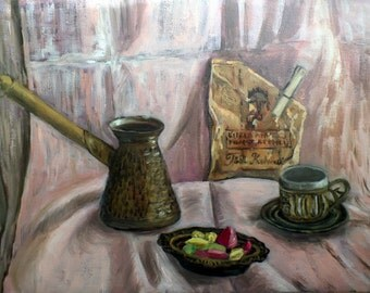 """Original Oil Painting, FREE SHIPPING Worldwide,16,4"""" x 11,4"""", Turkish coffee,  Wall Decor, Cottage Chic, Rustic Style, Oriental painting"""