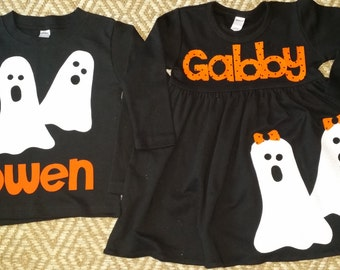 Halloween Sibling Set-Brother Sister Sibling Set-Ghost  Applique Outfits- Perfect for Family Pictures