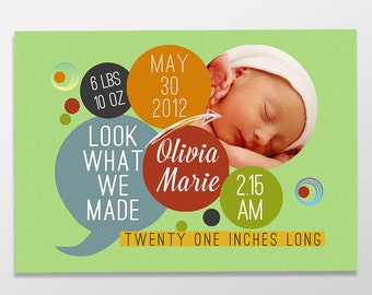 Funny Custom Digital Baby Boy or Baby Girl Photo Birth Announcement, PRINTABLE or PRINTED Baby Announcement - Look What We Made