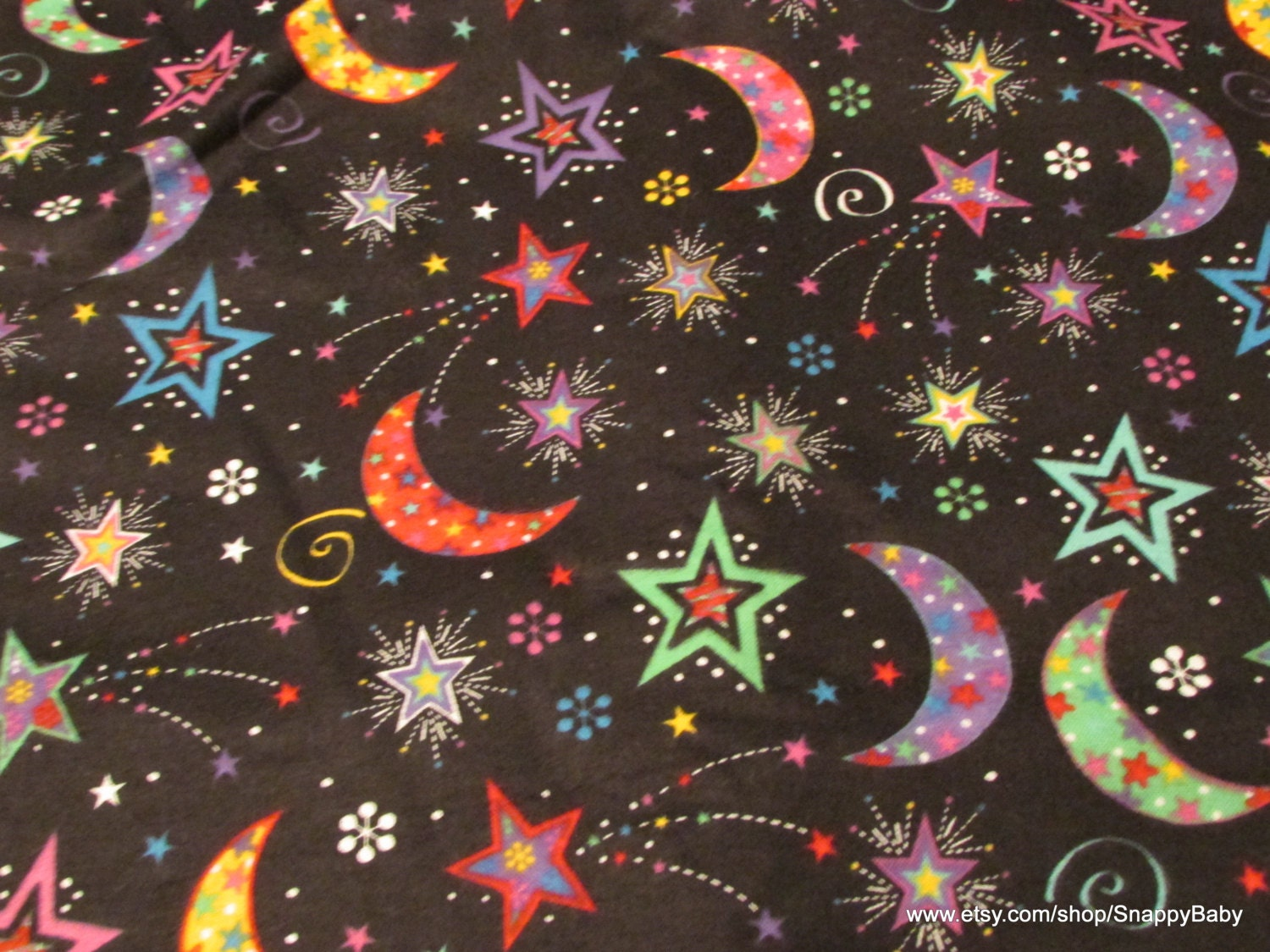 Flannel fabric bright moon and stars 1 yard 100 by snappybaby for Moon and stars fabric