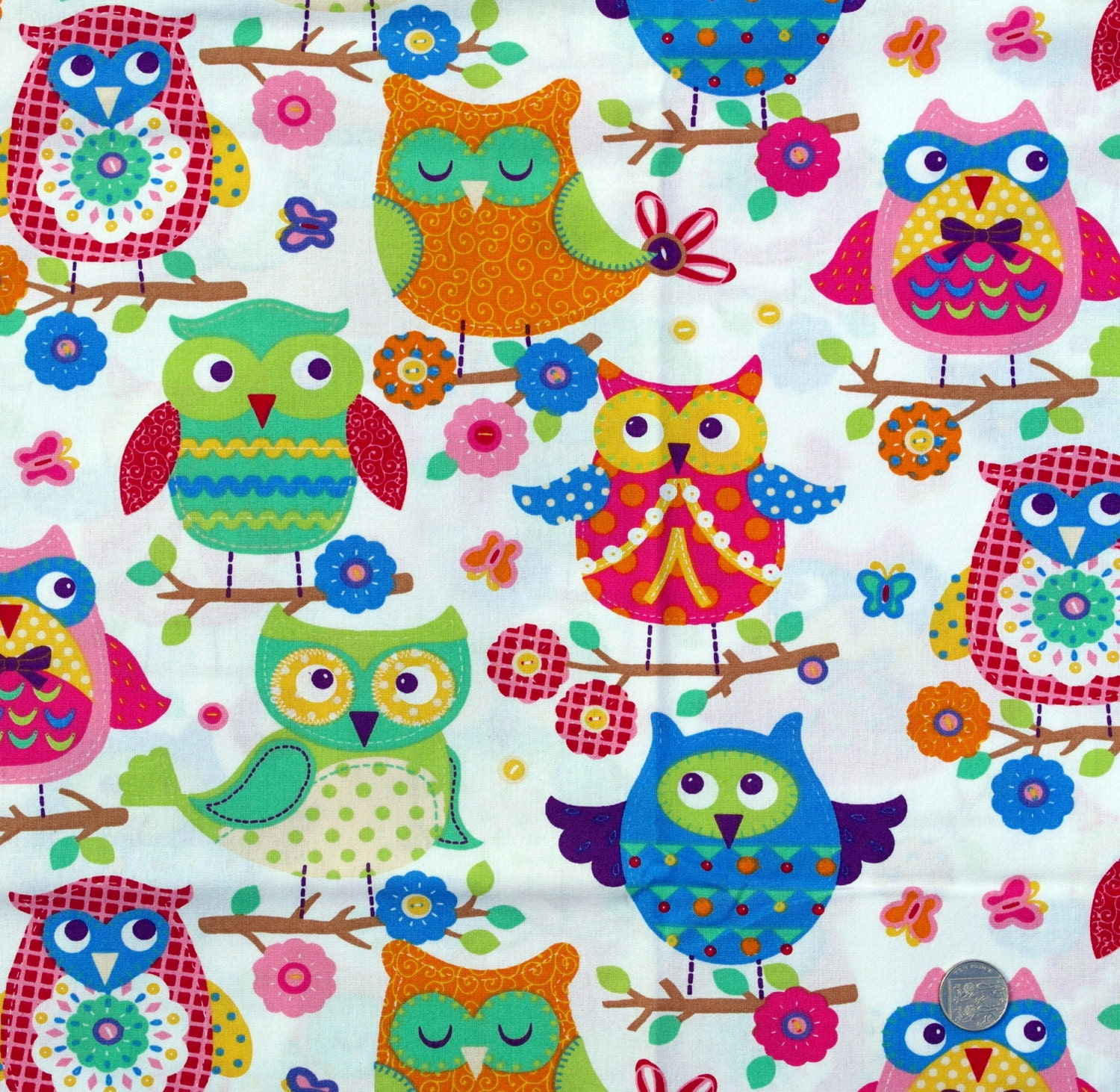 fabric children 39 s novelty fabric owl theme on light