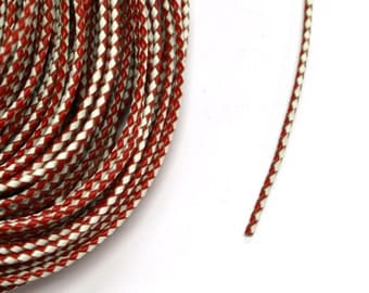 1  Metre x 3mm Red and White Braided leather Cord