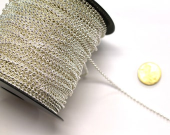 1 x Metre of 2.5mm Tarnish Resistant Silver Plated Ball Chain