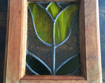 Wood Framed Stained Glass Yellow Tulip / Glass Art