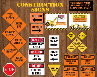 Construction Party signs,  Construction Birthday party, Construction transportation party construction party decor, digital cupcake