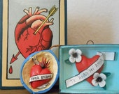Vintage LOVE ALTAR PIECES (3)/Sweetheart Box with lid/Hand-painted Walnut/Mexico Peru