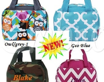 Personalized Lunch bags in New Colors!Chevron colors,Owl, Zebra, leopard, Camo and more