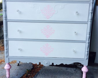 SOLD- Antique dresser - grey, white, & pink
