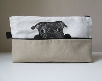 pug pencil case funny black pug toiletry cosmetic pouch gift idea for dog lovers for dogs walker hand painted fabric cotton vegan bag