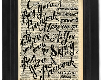 Katy Perry, Firework Lyric Calligraphy on Antique Dictionary Page, art print, Wall Decor, Wall Art Mixed Media Collage