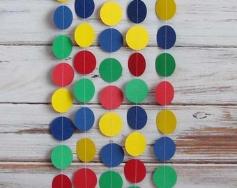 Party Garland - Primary Color, Birthday, Circle, Paper Garland, Party Decoration