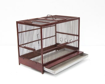 Burgundy Wood & Wire Birdcage