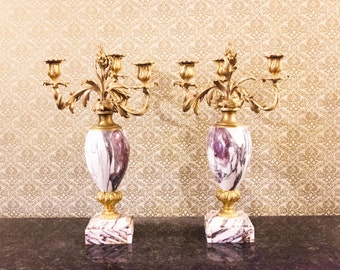 Beautiful Pair of French Rococo Gilt and Marble Candelabra