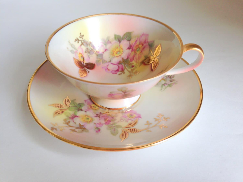 wild rose german tea cup and saucer schumann arzberg german. Black Bedroom Furniture Sets. Home Design Ideas