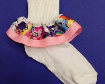My Little Pony Ruffle Socks - Ponies Ruffle Socks - My Little Pony Girls Socks - My Little Pony Socks - Character Girl Socks
