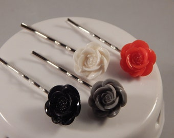 Resin Rosebud Bobbypins wedding prom formal hairpins red grey white black bridal party bride flower girl updo teen women gift idea under 10