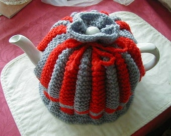 Handmade Knitted Tea Cosy Red And Grey