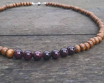 Wooden Garnet Necklace