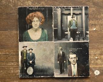Mugshots Three Marble Tile Coasters - Set of 4  // antique // vintage // colorized // criminals // dark decor // true crime