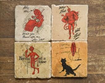 Devil Postcards Tile Coasters - Set of 4 // Devils // Postcards // Handwriting // Correspondence // creepy // weird // satan // beezlebub