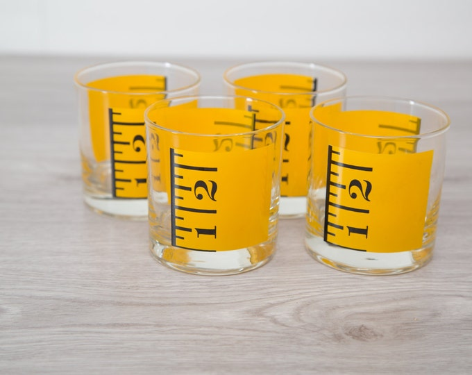 Measuring Stick Ruler Drinking Glasses / 4-Piece Set of Yellow Ruler Cocktail Bar Glasses for dad / Father's Day Gift / Glasses for Kids