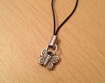 Butterfly mobile cell phone charm bag charm purse charm zip pull