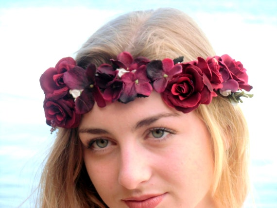 Red  Flower Crown, Valentines Day Flower Crown, Rose Headband, Rose Crown, Wedding Hair, Red Flower Girl Crown, Hair Wreath,