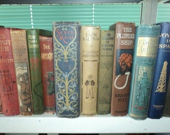 Set of 25 Vintage Books with Decorative or Pictorial Boards