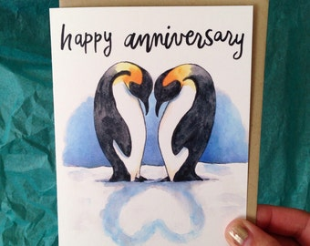 Happy Anniversary Penguins Heart Shadow Love Card