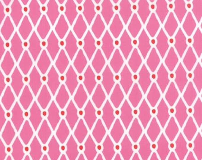 Beach House - Fishnet Pink Red - 1/2yd