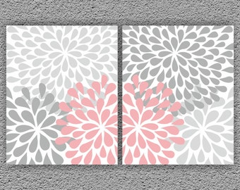 Nursery Wall Art  Set of 2 Prints, Kids Wall Decor, Nursery Digital Art, ModernFloral FlowerFlourish Artwork Bedroom Bathroom