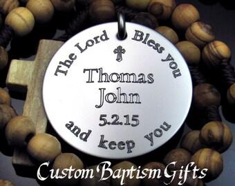Baptism Boy Rosary, Personalized Rosary, Baptism Gift, Christening Gift, Rosary, Christening Rosary, Gift for Godparents, Baptism Boy   CG1