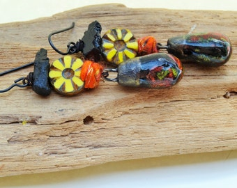 Between a Rock and a Hot Spot! earrings - Dangle, Floral, Artisan, Rustic