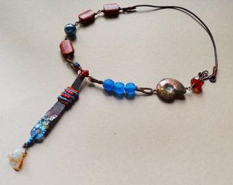 Treasures necklace - Natural, Funky, Rustic, Artisan,