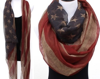 Vintage faded American flag infinity scarf / Kimono vest /red white & blue scarf / 4th of July / vintage scarf / team USA / American flag /
