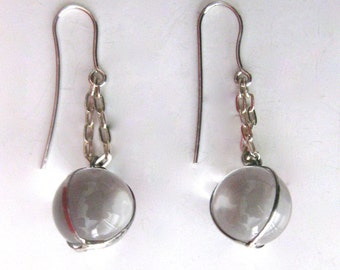 "Pair of Art Nouveau Sterling Silver ""Pools of Light"" Rock Crystal Quartz  Earrings"