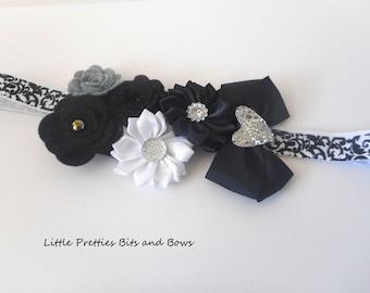 Black Flower Headband on soft elastic