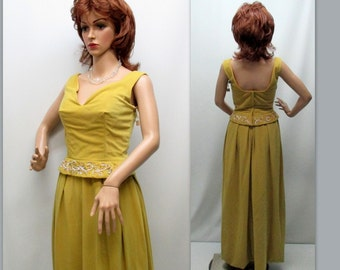 Vintage 50s Gown, 50s Gold Gown, Mad Men Clothing, 50s Vintage Gown
