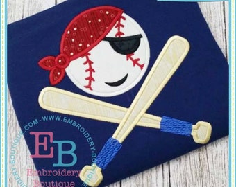 Personalized Pirate Baseball Bats Applique Shirt or Onesie Girl