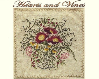 Hearts and Vines - Ben - Hand Embroidery Pattern by Beth Ritter - Instant Digital Download